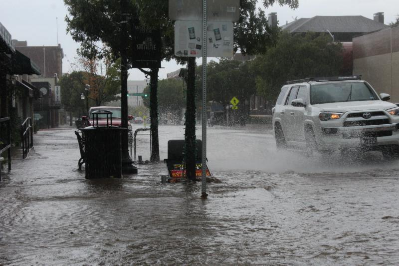 Water covered parts of Magnolia Avenue in Fort Worth on Friday.