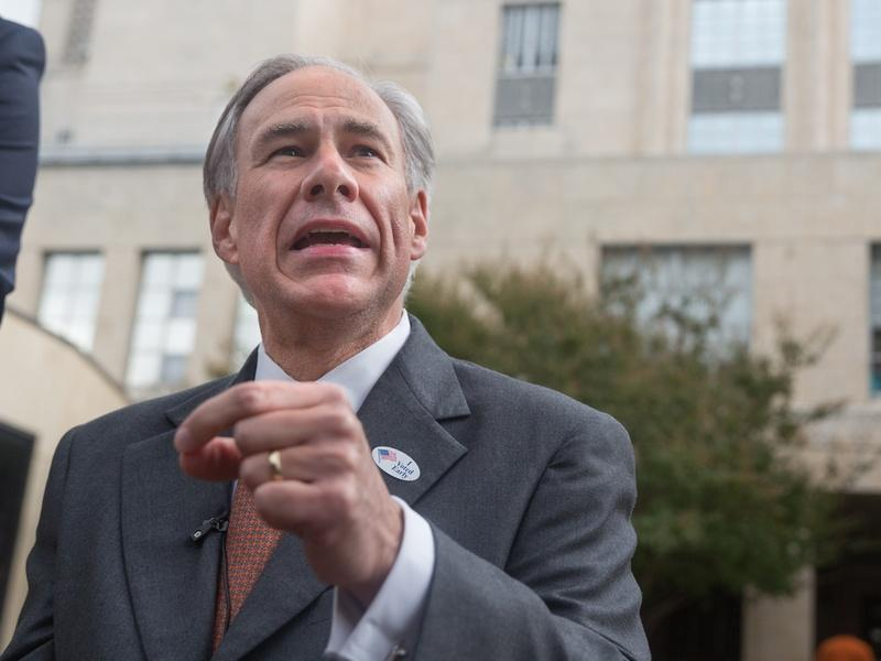 Gov. Greg Abbott spoke with reporters in Austin last week after voting early in the constitutional amendment election.