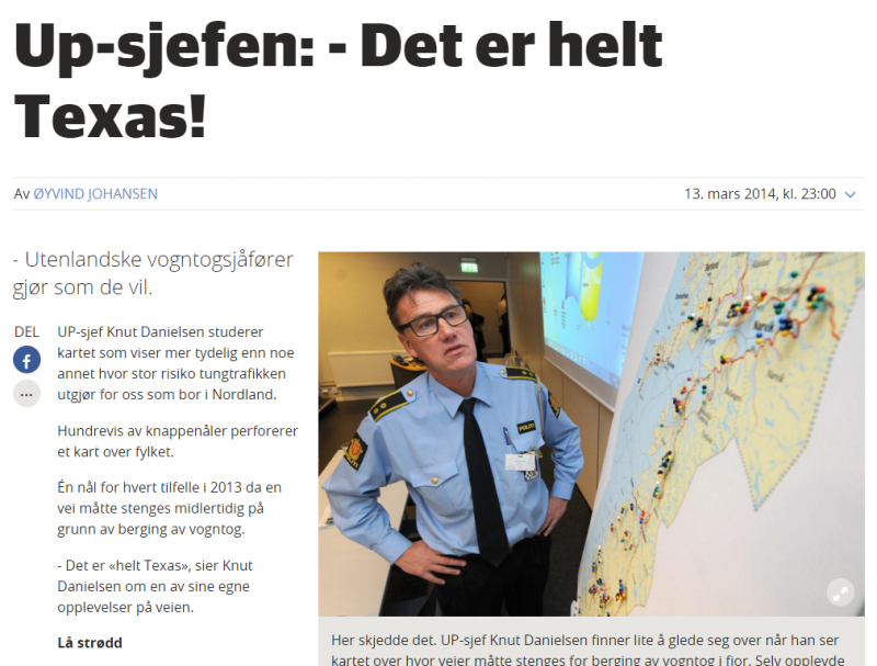 This screengrab from a Norwegian media website shows 'Texas' in a headline.