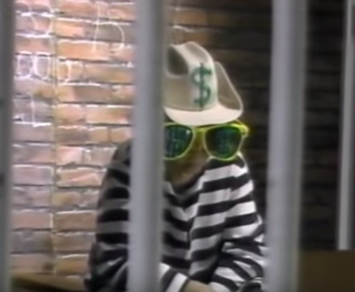 """""""Convicted for tasteless advertising, Joe Greed of Westway Ford languishes in jail,"""" an announcer declares on a classic Westway Ford commercial."""