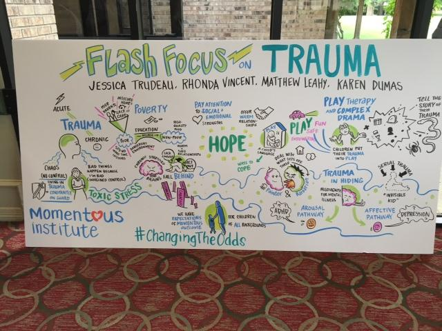 This illustrated board was drawn and labeled during the flash focus on trauma session at the Changing the Odds conference.