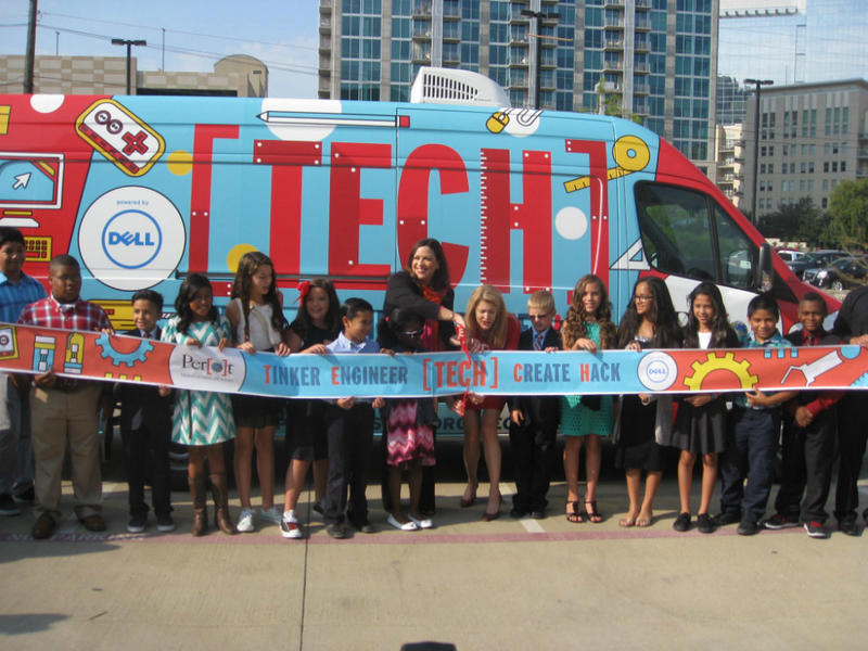 Sixth and seventh graders are about to help cut the ribbon inaugurating the Perot Museum's TECH Truck that will venture to distant neighborhoods.