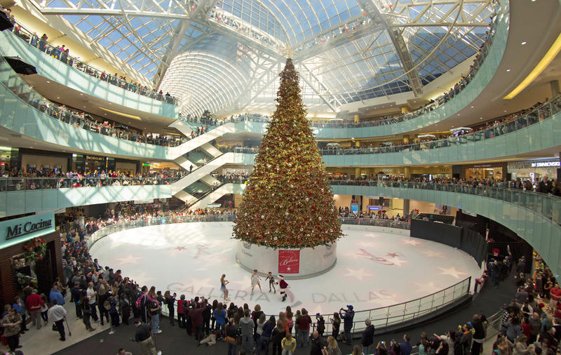 The 95-foot-tall tree is the centerpiece at Galleria Dallas during the holidays.