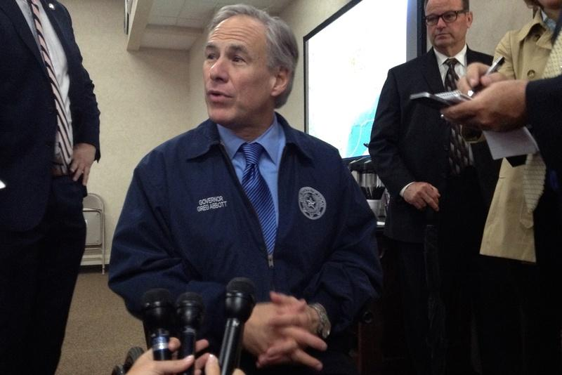 Gov. Greg Abbott speaks to reporters at the Security Operations Center at the Department of Public Safety on May 12, 2015.