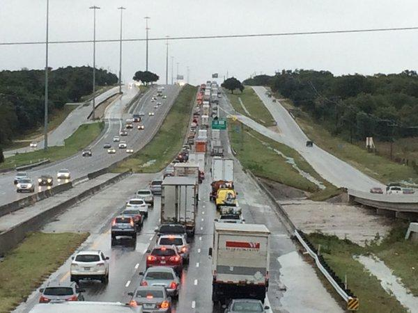 Interstate 35 in Austin was congested -- and flooded -- Friday.