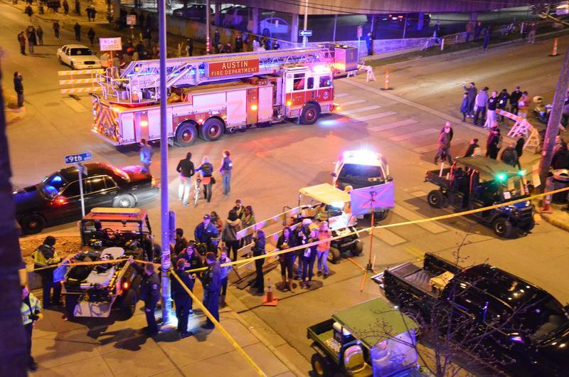 The scene from Austin shortly after a driver plowed through a barricade into a crowd of people attending SXSW 2014 in downtown Austin.