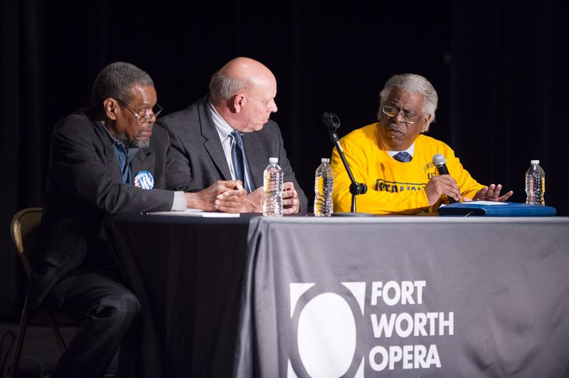 "From left, civil rights activist Eddie Griffin, TCU presidential historian Jim Riddlesperger and Fort Worth Metropolitan Black Chamber of Commerce President Devoyd ""Dee"" Jennings."