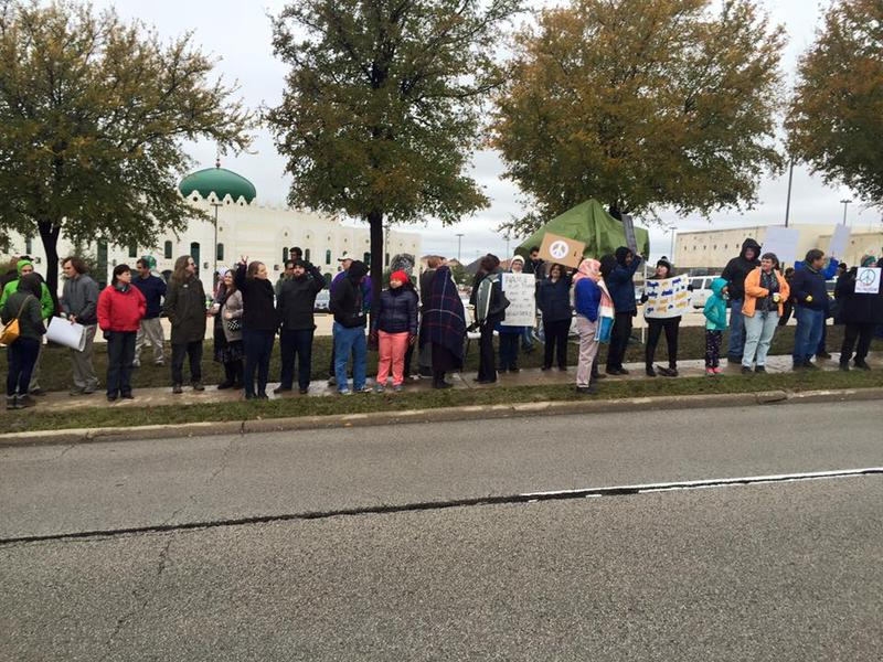 Scores of supporters showed up at the Islamic Center of Irving over the weekend.