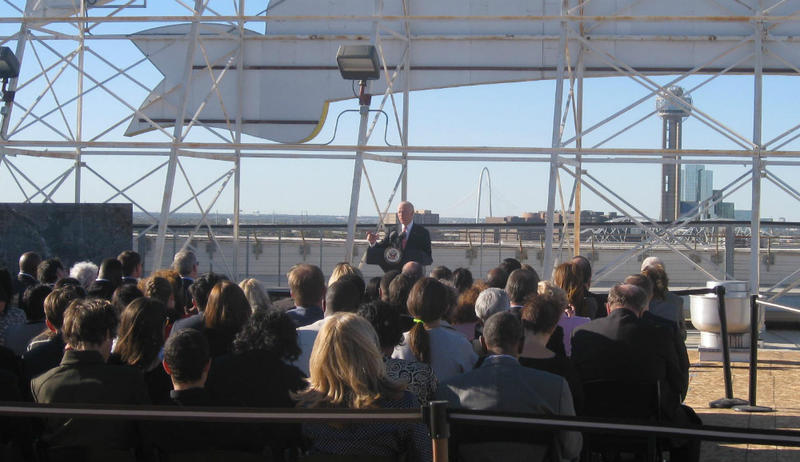 Vice President Joe Biden speaking on the roof of Southside On Lamar apartments Wednesday. He talked up infrastructure investments, criticizing Congress for failing to pass an adequate funding bill. Biden backs the Texas bullet train.
