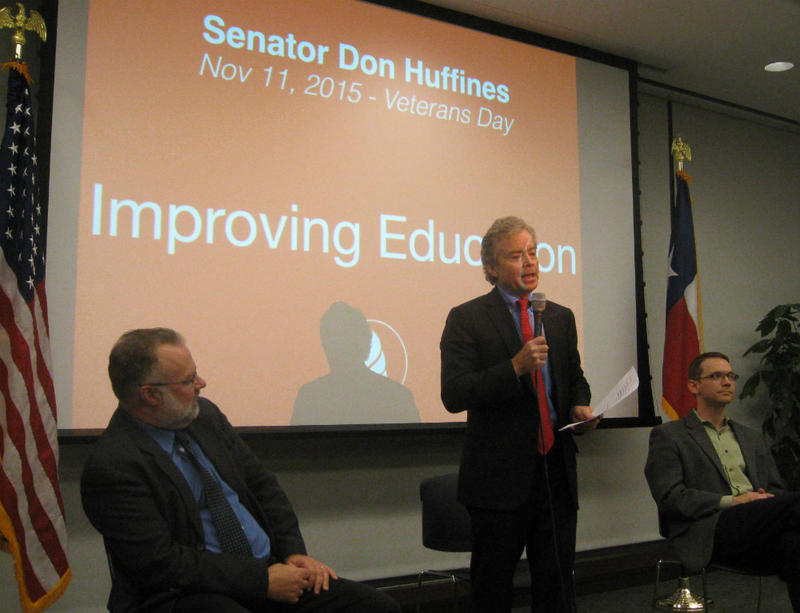 District 16 state Senator Don Huffines at his fourth town hall meeting on evening of Veterans Day. To his left is Dallas ISD Trustee Mike Morath. On the other side, Matthew Ladner, with the Foundation for Excellence in Education, a school choice group.