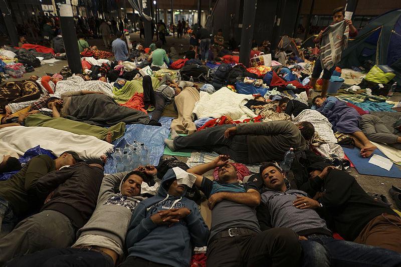 Syrian refugees having rest at the floor of Keleti railway station in Budapest, Hungary Sept. 5, 2015.
