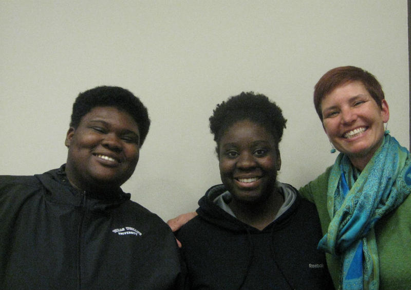From left: Texas Woman's University students Chasity Jones and Emily Williams with Amy O'Keefe, director of TWU's Campus Alliance for Resource Education.