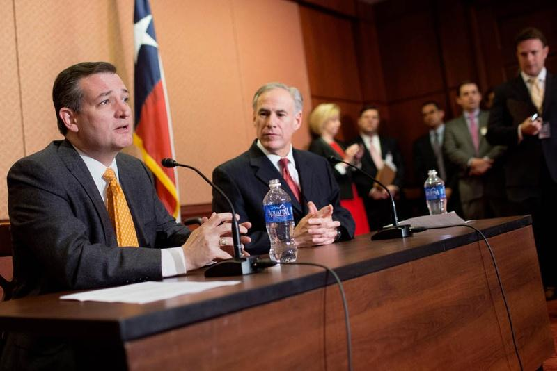 Sen. Ted Cruz, R-Texas and Gov. Greg Abbott speak at a press conference in the Capitol about Cruz's State Refugee Security Act, in Washington, D.C.