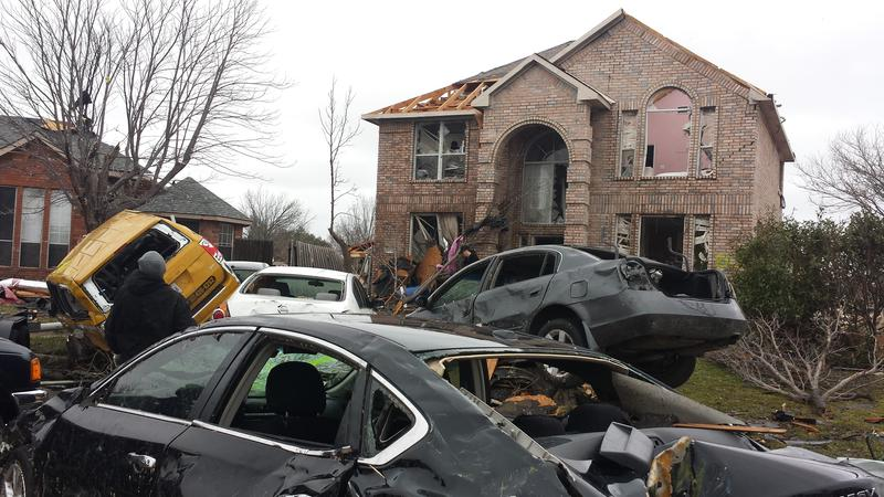 Damage to a home in Garland following storms.
