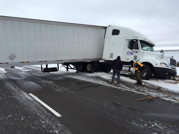 A semi jack-knifed on Sunday on U.S. 287 in Hardeman County, near the Texas Panhandle.