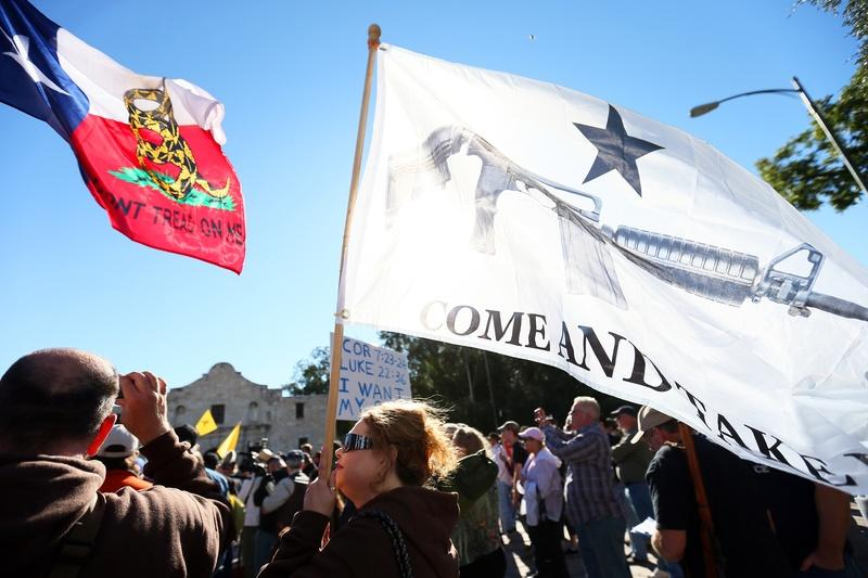 "A ""Come and Take It San Antonio!"" gun rights rally was held at The Alamo in San Antonio in 2013."