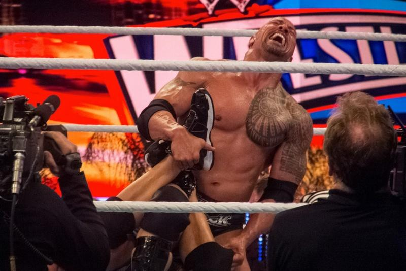 WWE Wrestlemania 28 featured The Rock vs. John Cena in 2012.