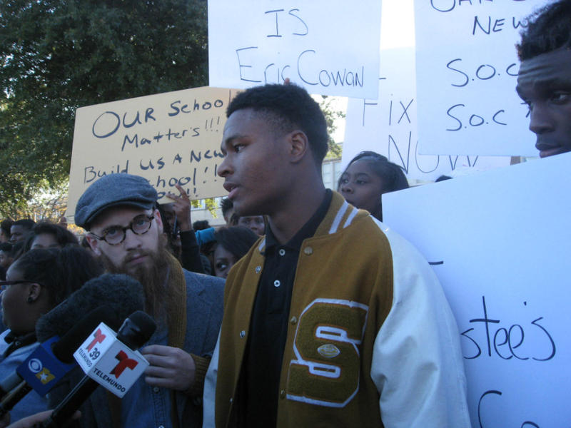 South Oak Cliff High's David Johnson, a senior, helped lead Monday's protest at the high school, when about 100 kids walked out complaining about bad conditions inside