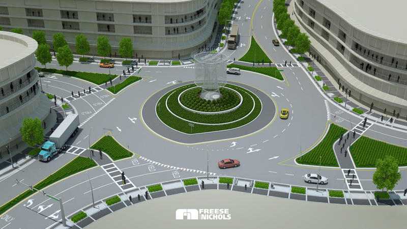 An artist's rendering showing how the new sculpture will fit into the completed streetscape.