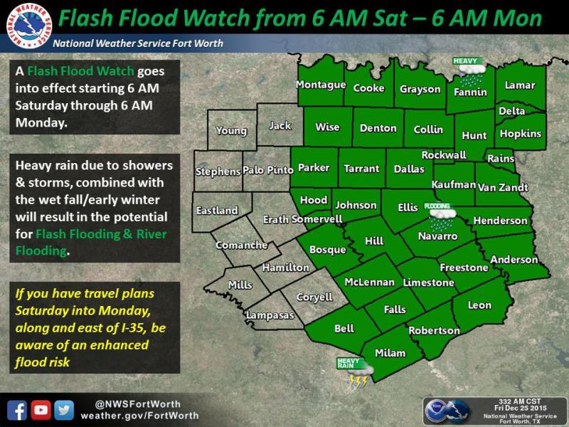 A flash flood watch remains in effect for North Texas through Monday morning.
