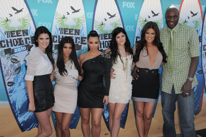 Lamar Odom with the Kardashian sisters in 2010. Odom was a popular Google search in 2015.