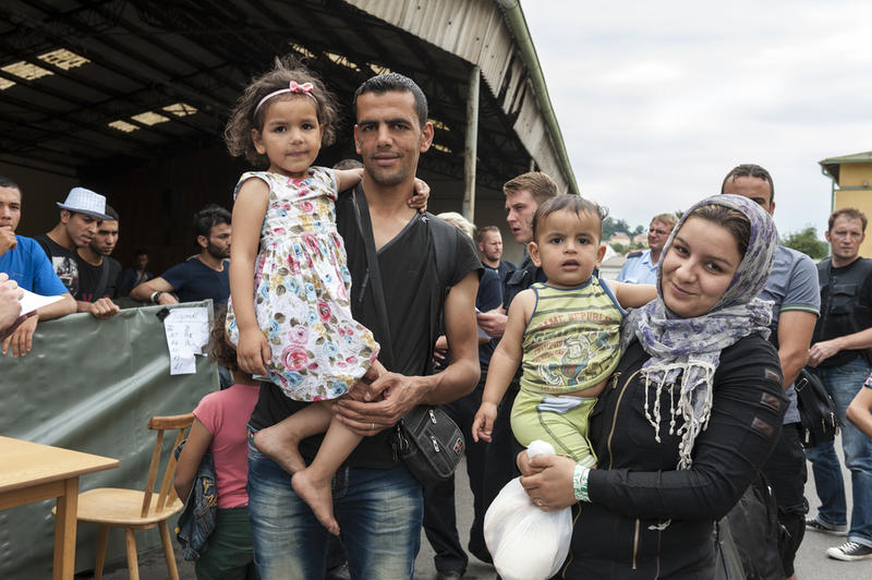 A Syrian family at a refugee camp in Germany earlier this year. A Syrian family of six arrived in Dallas Monday night and are learning about public transporation, the medical system here, schools and other basic necessities.