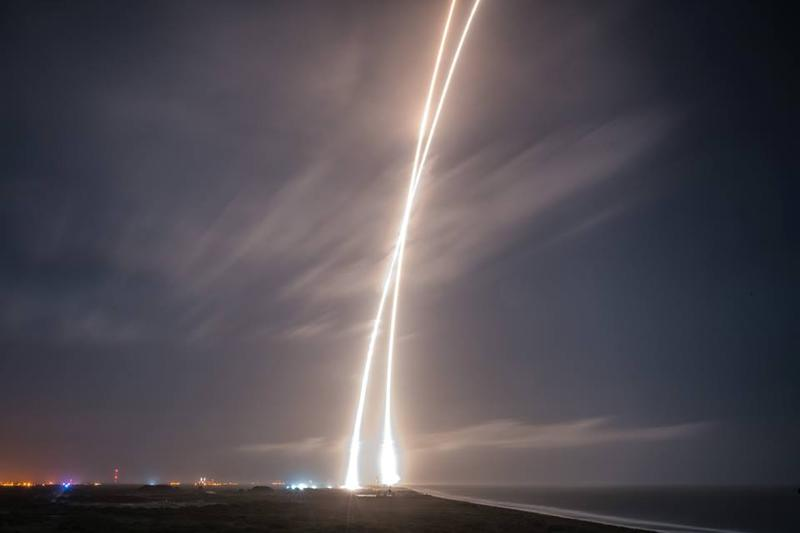 A SpaceX rocket has launched 11 satellites into space.