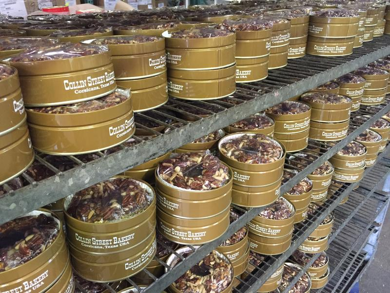 Tins of fruitcake at Collin Street Bakery. The fruitcake factory sells 1 million fruitcakes a year.