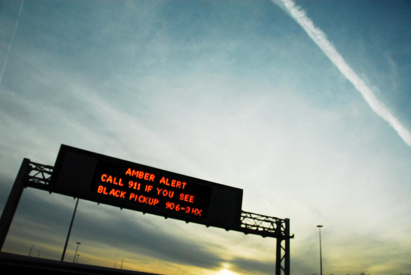 An Amber Alert is displayed on a highway sign.  The National Center for Missing and Exploited Children credits the Amber Alert with rescuing nearly 800 abducted children since 2009.