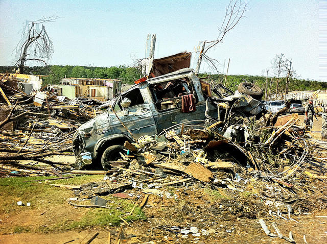 This image from the aftermath of a 2011 Alabama tornado shows the devastation Kim Cross' subjects faced. The tornado sirens had been going off every few days before the storm hit, so many people didn't take cover.