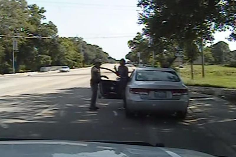 This screenshot from a Department of Public Safety dash cam video shows Sandra Bland as she exited her car after DPS officer Brian Encinia had drawn his taser on July 10, 2015.