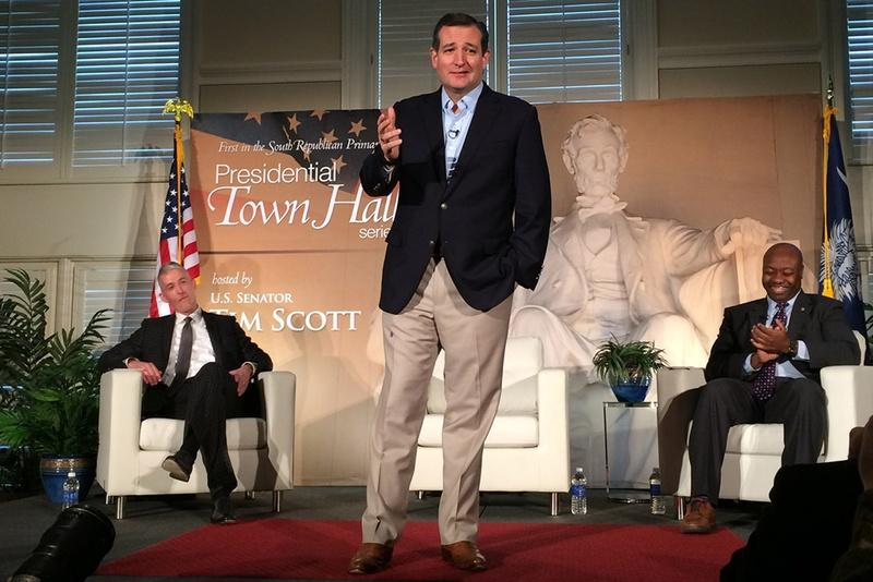 U.S. Sen. and presidential candidate Ted Cruz at a presidential town hall hosted by Sen. Tim Scott, R-S.C., right, at Furman University in Greenville, S.C., in December.
