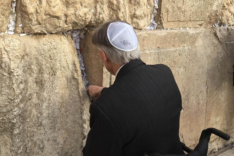 Gov. Greg Abbott at the Western Wall in Jerusalem during a visit to Israel on Monday.