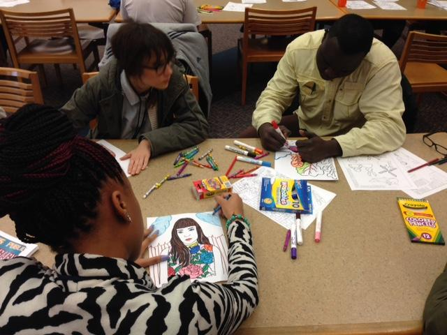 A gathering of coloring enthusiasts at the Dallas Public Library.