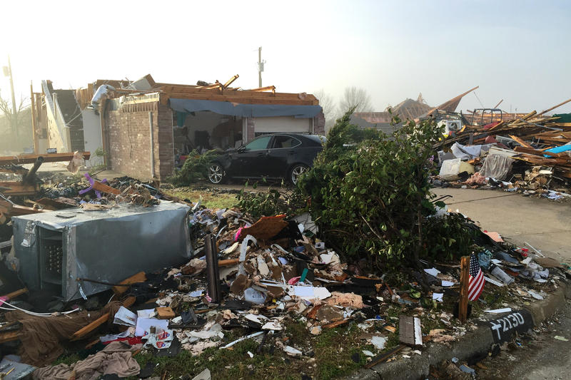 A house that was hit by the tornado that struck Glenn Heights, south of Dallas.