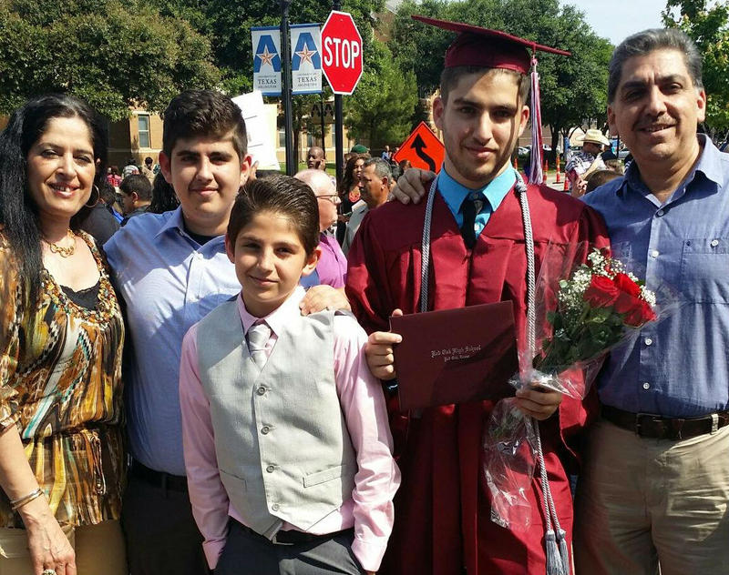 Ghada Mukdad and her family after her eldest son, Abdulmuhsen, graduated from High School in May 2015.