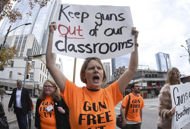 Stephanie Odam of Austin advocates for a gun-free learning environment during a Modern Language Association-sponsored march on Congress Avenue in Austin in January.