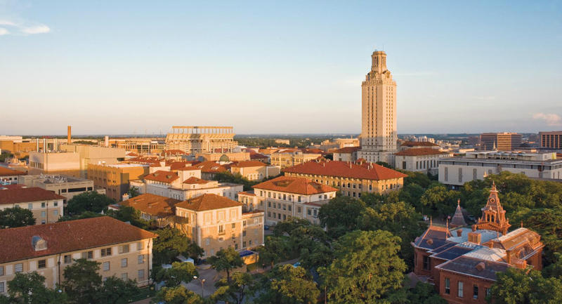 The University of Texas' Austin campus is the flagship school in the statewide UT system. The school includes about 55,000 students and faculty.