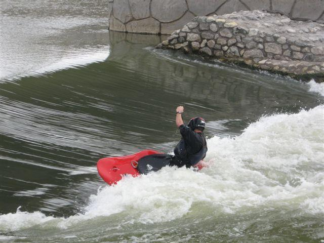 Kayaker Matt Fritz paddling the Standing Wave in 2011.