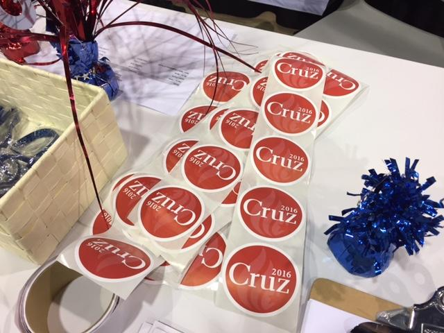 Ted Cruz supporters prepare hundreds of stickers to pass out at the Tarrand County Republican Straw Poll event in January.