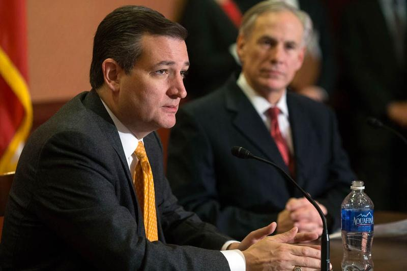 U.S. Sen. Ted Cruz and Gov. Greg Abbott spoke at a press conference in the Capitol about Cruz's Terrorist Refugee Infiltration Prevention Act of 2015 in Washington, D.C., in December.