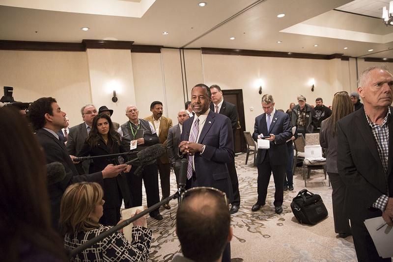 Retired neurosurgeon and presidential hopeful Ben Carson speaks to supporters in Irving on Saturday.