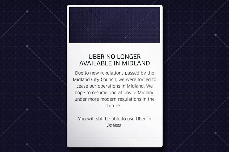 A screenshot of the Uber app in Midland.