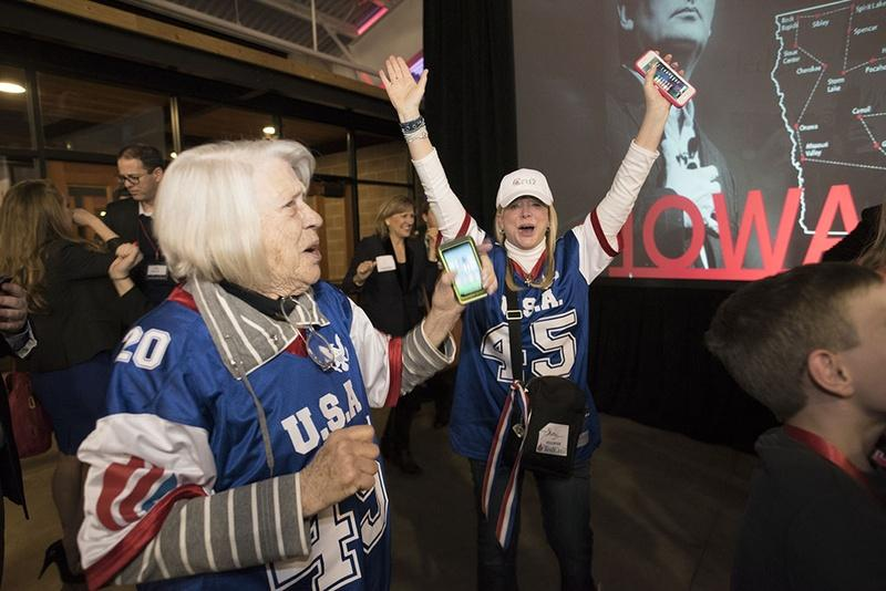 Ted Cruz supporters celebrate victory in Iowa caucuses Monday night.