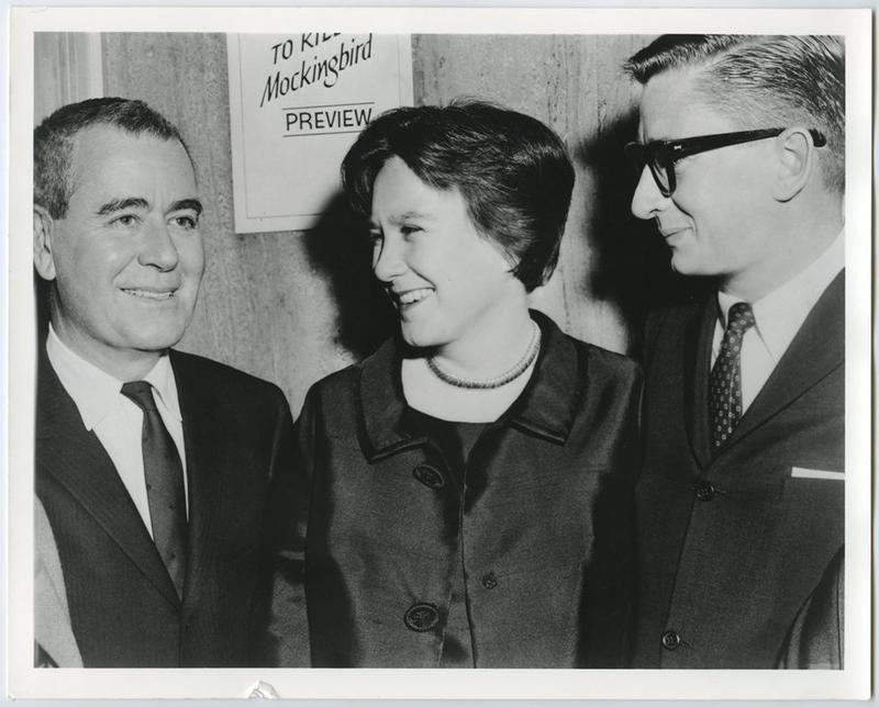 Harper Lee (center), 'Mockingbird' screenwriter Horton Foote (left) and director Robert Mulligan (right) at the movie's 1962 premiere