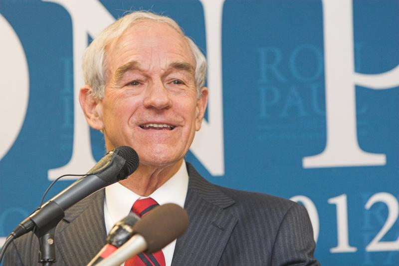 Ron Paul addressing a crowd at a campaign stop in Sioux Center, Iowa on Dec. 30, 2011. Paul ran for president three times in his career.