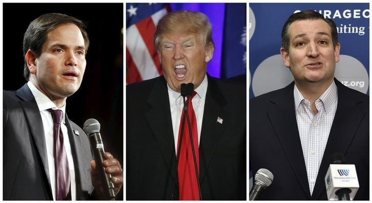 GOP presidential candidates Marco Rubio, Donald Trump and Ted Cruz.