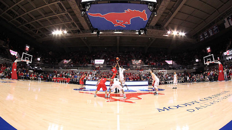 The SMU Mustangs playing at Moody Coliseum. They were banned from the post-season due to academic fraud, unethical conduct, and other violations.