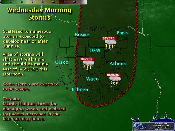 Here's where you can expect storms this morning in North Texas.
