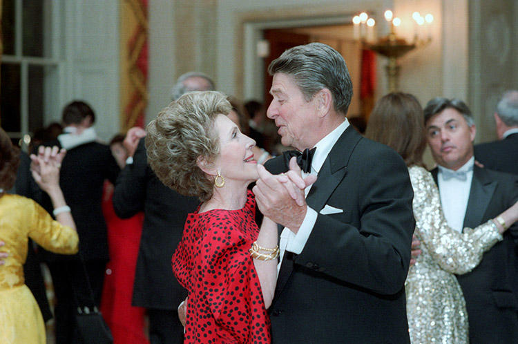 President Ronald Reagan and Nancy Reagan dancing at the State Dinner for President Bendjedid of Algeria in 1985.